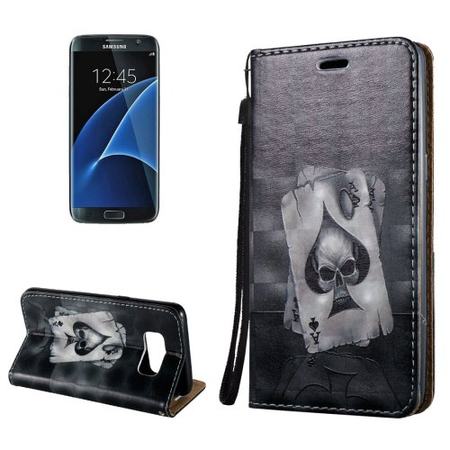 For Galaxy S8+ 3D Poker Magnetic Leather Case with Holder, Card Slots & Lanyard