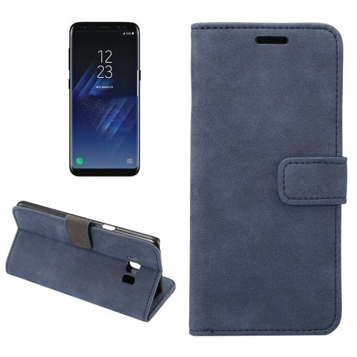 For Galaxy S8+ Dark Blue Sheep Bar Leather Case with Holder, Card Slots & Wallet