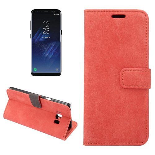 For Galaxy S8+ Red Sheep Bar Leather Case with Holder, Card Slots & Wallet