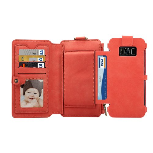 For Galaxy S8+ Red Multi-function Sheep Bar Material Universal Horizontal Flip Case