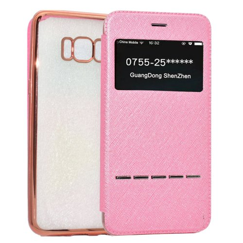 For Galaxy S8+ Pink Electroplating Soft TPU Cross Cover Case with Press Key