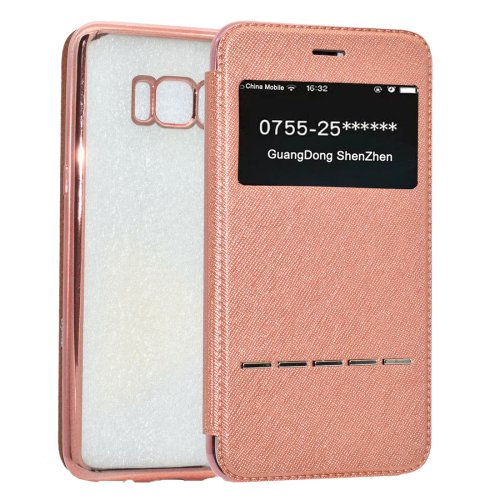 For Galaxy S8+ Rose Gold Electroplating Soft TPU Cross Cover Case with Press Key