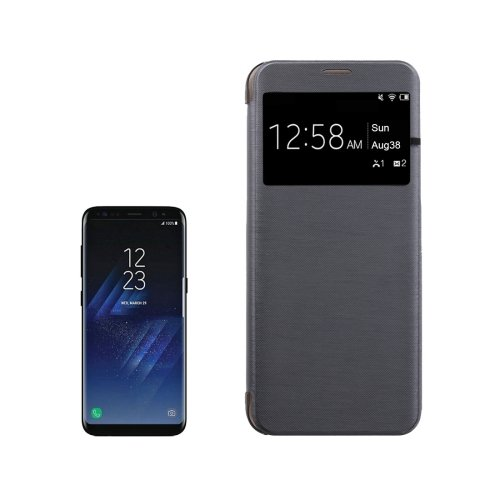 For Galaxy S8+ Black PU+PC Small Lattice Flip Leather Case with Call Display ID