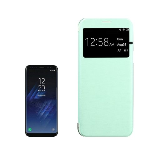For Galaxy S8+ Green PU+PC Small Lattice Flip Leather Case with Call Display ID