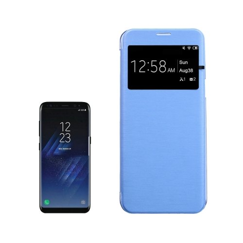 For Galaxy S8+ Blue PU+PC Small Lattice Flip Leather Case with Call Display ID