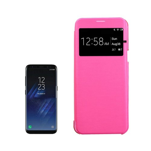 For Galaxy S8+ Magenta PU+PC Small Lattice Flip Leather Case with Call Display ID