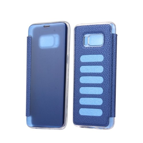 For Galaxy S8+ Dark Blue Litchi Paste Skin High Transparency Flip Leather Case