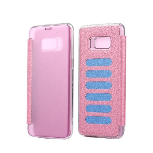 For Galaxy S8+ Pink Litchi Paste Skin High Transparency Flip Leather Case