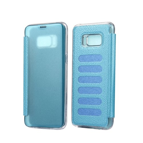 For Galaxy S8+ Blue Litchi Paste Skin High Transparency Flip Leather Case