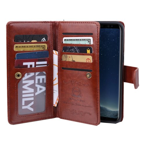 For Galaxy S8+ Brown Crazy Horse Flip Leather Case with Detachable Back Case