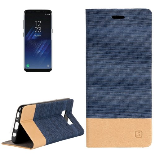 For Galaxy S8+ Dark Blue Denim Texture Leather Case with Card Slots, Holder & Wallet
