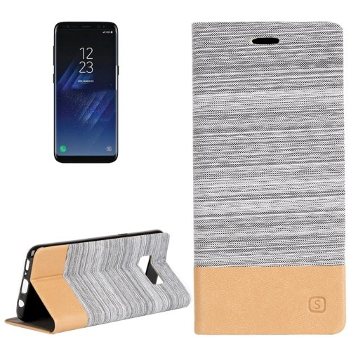 For Galaxy S8+ Grey Denim Texture Leather Case with Card Slots, Holder & Wallet