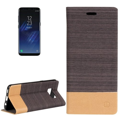 For Galaxy S8+ Brown Denim Texture Leather Case with Card Slots, Holder & Wallet