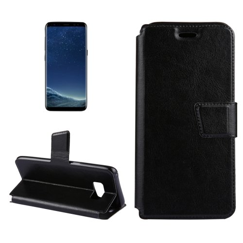 For Galaxy S8+ Black Crazy Horse Flip Leather Case with Holder & Card Slots