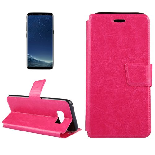 For Galaxy S8+ Magenta Crazy Horse Flip Leather Case with Holder & Card Slots