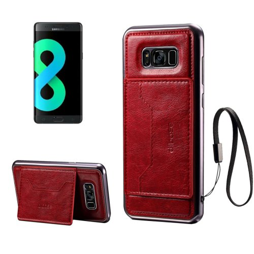 For Galaxy S8+ Red Electroplating Simulated Cortex TPU Paste Skin Case with Card Slots