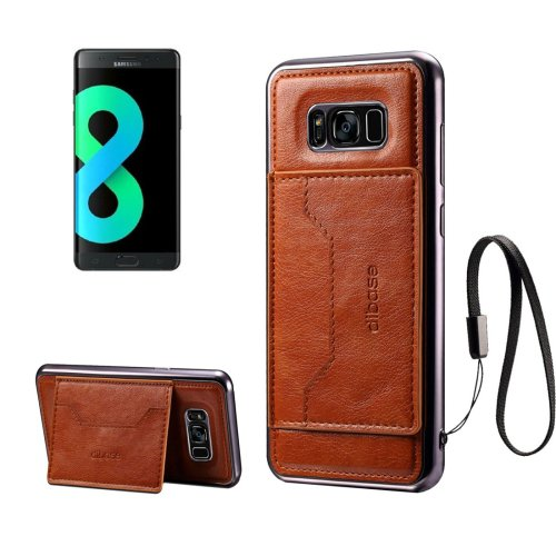 For Galaxy S8+ Brown Electroplating Simulated Cortex TPU Paste Skin Case with Card Slots