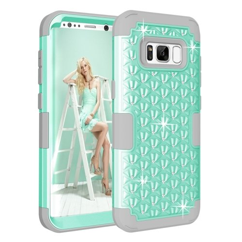 For Galaxy S8+ Green Dropproof 3 in 1 Diamond Silicone sleeve Case