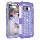 For Galaxy S8+ Purple Dropproof 3 in 1 Diamond Silicone sleeve Case