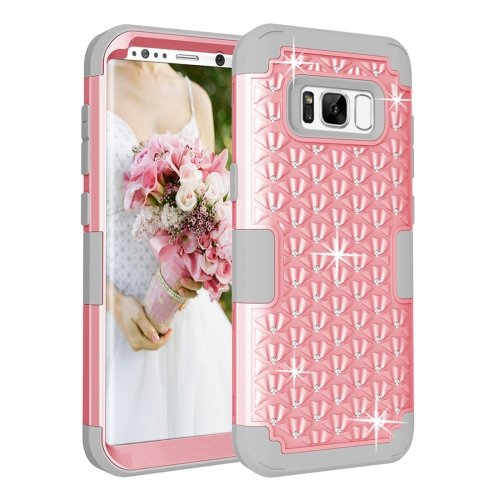 For Galaxy S8+ Rose Gold Dropproof 3 in 1 Diamond Silicone sleeve Case