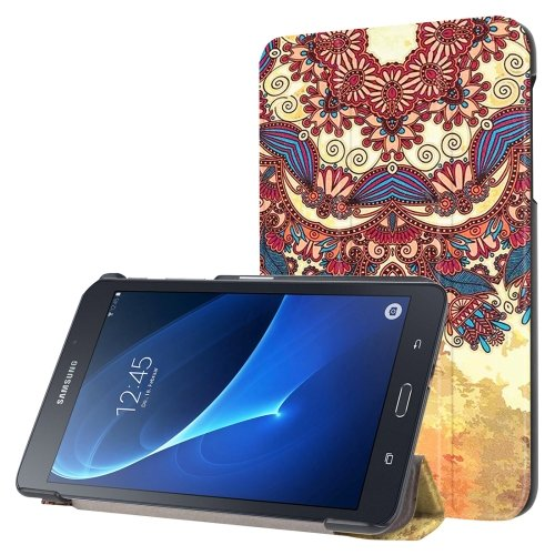 For Galaxy Tab A 7.0 National Style Pattern Flip Leather Case with 3-folding Holder