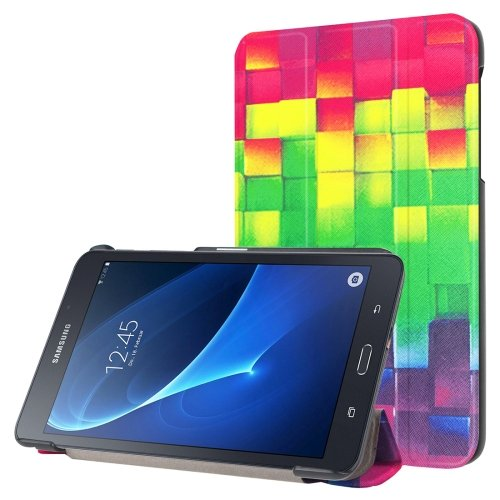 For Galaxy Tab A 7.0 Lattice Pattern Flip Leather Case with 3-folding Holder