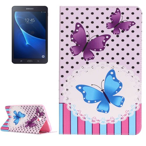 For Galaxy Tab A 7.0 Butterflies Pattern Horizontal Flip Leather Case with Holder