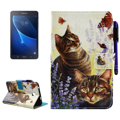 For Galaxy Tab A 7.0 Cats Smart Cover Leather Case with Holder, Wallet & Card Slots
