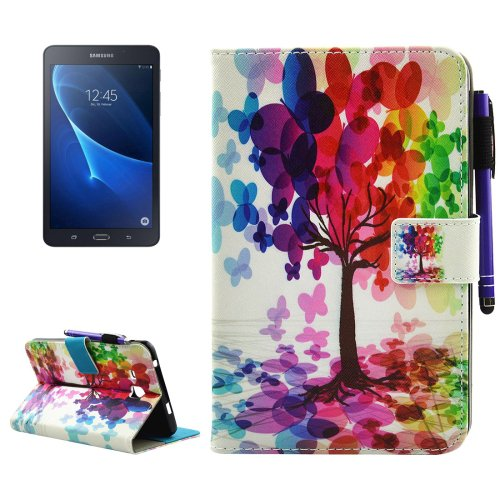 For Galaxy Tab A 7.0 Tree Smart Cover Leather Case with Holder, Wallet & Card Slots