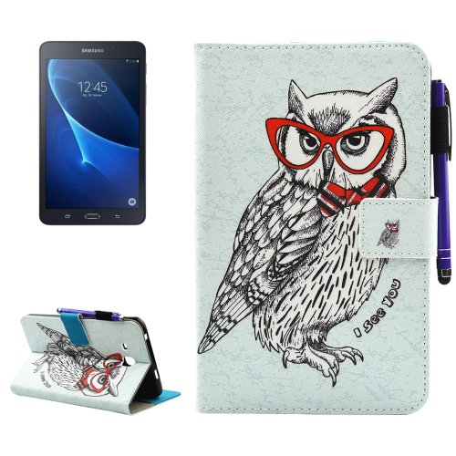 For Galaxy Tab A 7.0 Owl Smart Cover Leather Case with Holder, Wallet & Card Slots