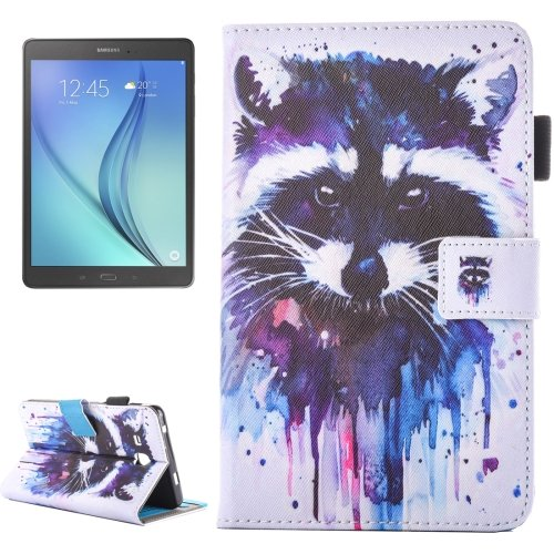 For Galaxy Tab A 7.0 Raccoon Pattern Horizontal Flip Leather Case with Holder & Card Slots