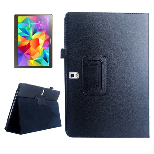 For Galaxy Tab S 10.5 Black Lichee Texture Horizontal Flip Leather Case with Holder