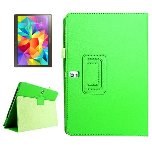 For Galaxy Tab S 10.5 Green Lichee Texture Horizontal Flip Leather Case with Holder