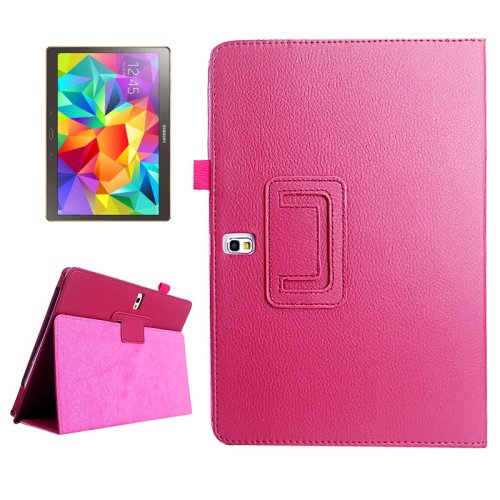 For Galaxy Tab S 10.5 Magenta Lichee Texture Horizontal Flip Leather Case with Holder