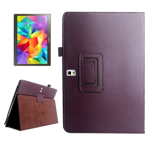 For Galaxy Tab S 10.5 Brown Lichee Texture Horizontal Flip Leather Case with Holder