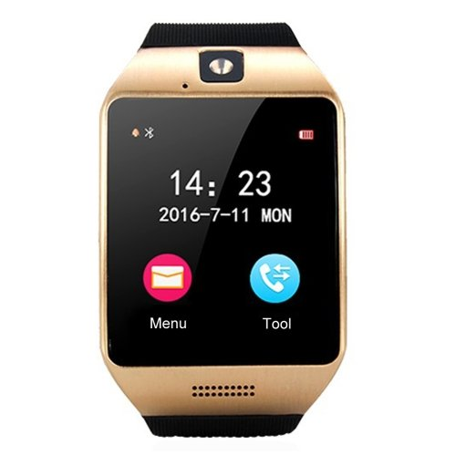 Black + Gold Q18S 1.54 inch IPS Screen MTK6260A Bluetooth 3.0 Smart Watch