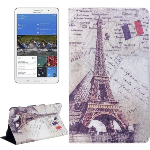 For Galaxy Tab S 8.4/T700 Eiffel Tower Pattern Flip Leather Case with Holder