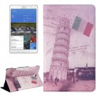 For Galaxy Tab S 8.4/T700 Pisa Tower Pattern Flip Leather Case with Holder