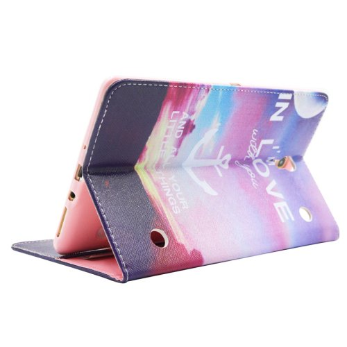 For Galaxy Tab S 8.4 Anchor Pattern Cross Leather Case with Holder, Card Slots & Wallet