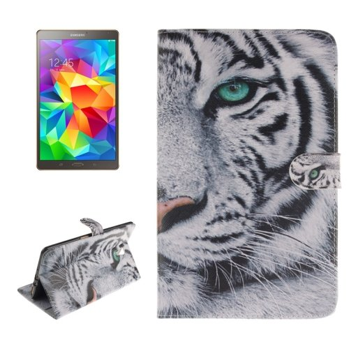 For Galaxy Tab S 8.4 Tiger Pattern Leather Case with Holder, Card Slots & Wallet