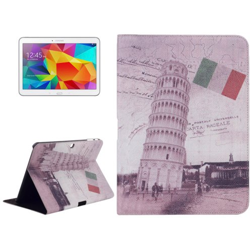 For Galaxy Tab 4 / 10.1 Tower of Pisa Pattern Leather Case with Holder