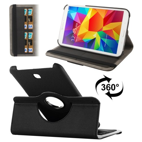 For Galaxy Tab 4 / 8.0 Denim Texture Leather Case with Card Slots & Rotating Holder - # Colors