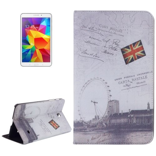 For Galaxy Tab 4 / 8.0 London Eye Pattern Leather Case with Holder