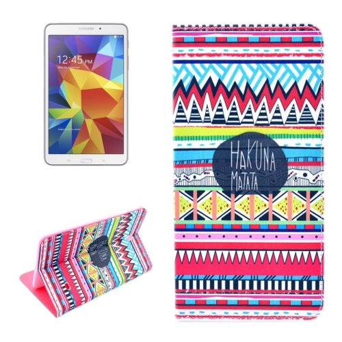 For Galaxy Tab 4 / 8.0 HAKUNA MATATA Pattern Flip Leather Case with Holder
