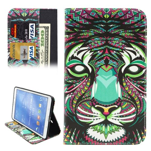 For Galaxy Tab 4 / 8.0 Lion Pattern Leather Case with Holder, Card Slots & Wallet