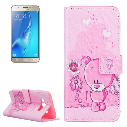 For Galaxy J5 (2016) Bear Pattern Leather Case with Holder, Card Slots & Wallet