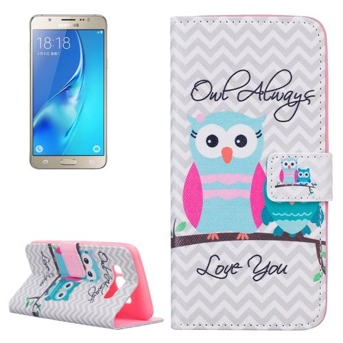 For Galaxy J5 (2016) Owls Pattern Leather Case with Holder, Card Slots & Wallet
