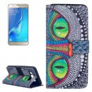 For Galaxy J5 (2016) Cheshire Cat Pattern Leather Case with Holder, Card Slots & Wallet