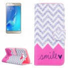 For Galaxy J5 (2016) Smile Pattern Leather Case with Holder, Card Slots & Wallet