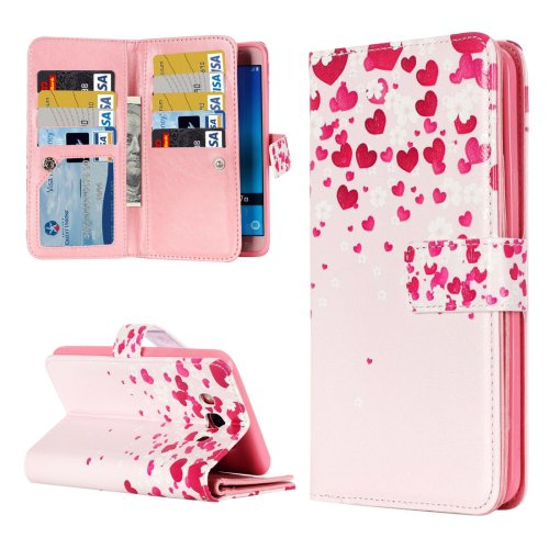 For Galaxy J5 (2016) Flower Pattern Flip Leather Case with 9 Card Slots, Wallet & Holder
